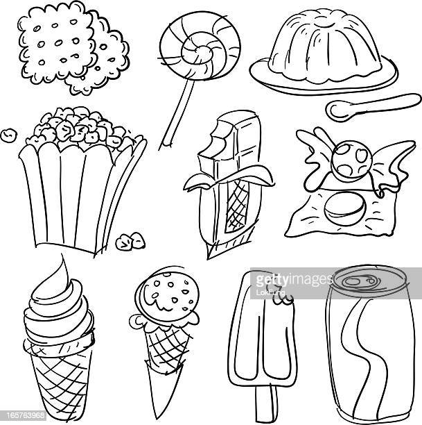 snack collection in black and white - gelatin dessert stock illustrations, clip art, cartoons, & icons