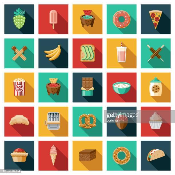 ilustrações, clipart, desenhos animados e ícones de conjunto de ícones de snack foods - churro