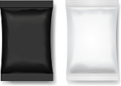 Snack package black white, Blank food packaging or Chocolate or wafer 3 d realistic vector illustration
