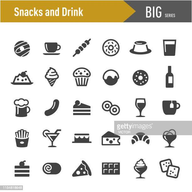 ilustrações, clipart, desenhos animados e ícones de petiscos e ícones da bebida-série grande - bolinho