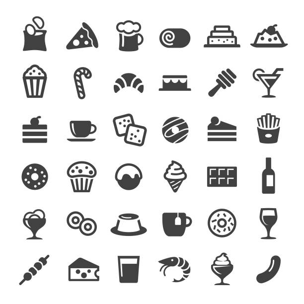 snacks and drink icons - big series - frozen food stock illustrations