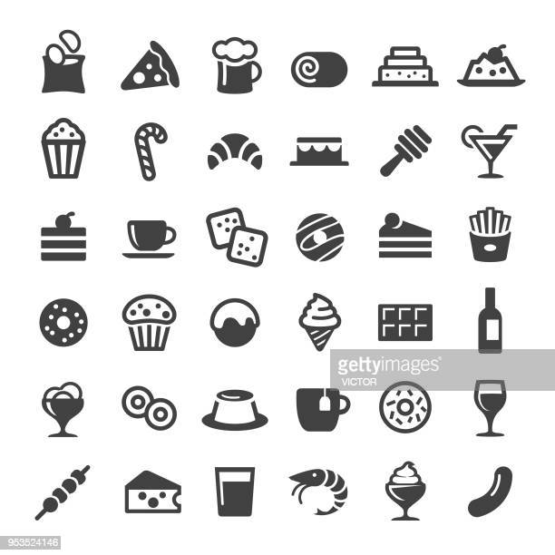 snacks and drink icons - big series - donut stock illustrations, clip art, cartoons, & icons
