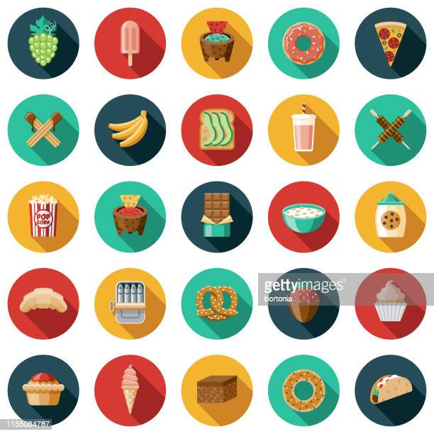 snacks icon set - unhealthy eating stock illustrations