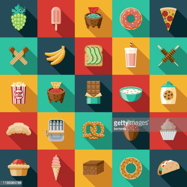 snacks icon set - frozen food stock illustrations