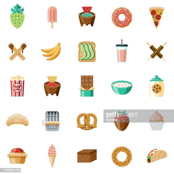 snacks icon set - dipping stock illustrations, clip art, cartoons, & icons