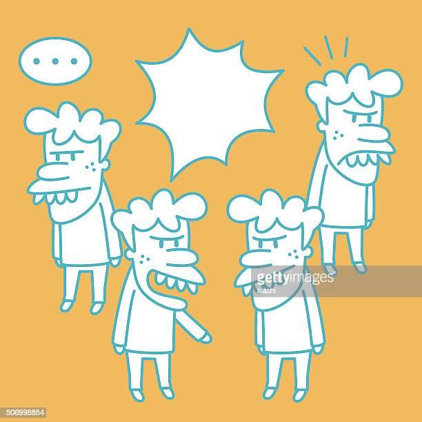 ilustraciones, imágenes clip art, dibujos animados e iconos de stock de snaggletooth hombre garabato emoción, hablar, se enojan discutir. - bullying escolar
