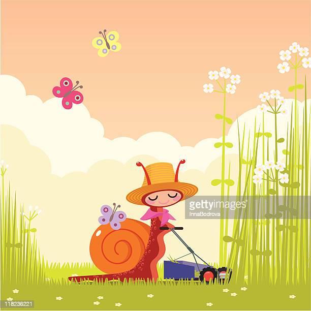 ilustrações de stock, clip art, desenhos animados e ícones de caracol e cortador de relva - caracol de jardim