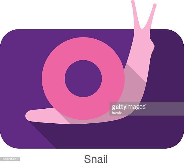 illustrations, cliparts, dessins animés et icônes de escargot animaux plat icônes série - escargot