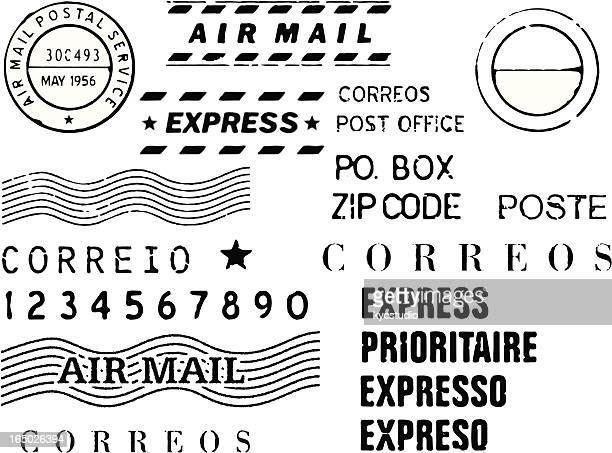 snail mail stamp set vector - postmark stock illustrations