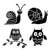 Snail, owl set