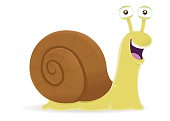 Snail with shell cartoon character