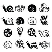 Snails, French snail meal - escargot icons set