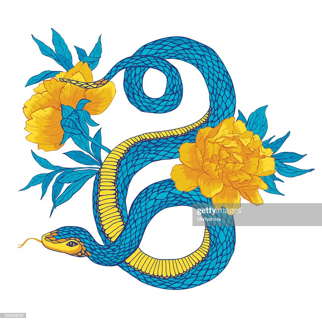 Snake and flowers.