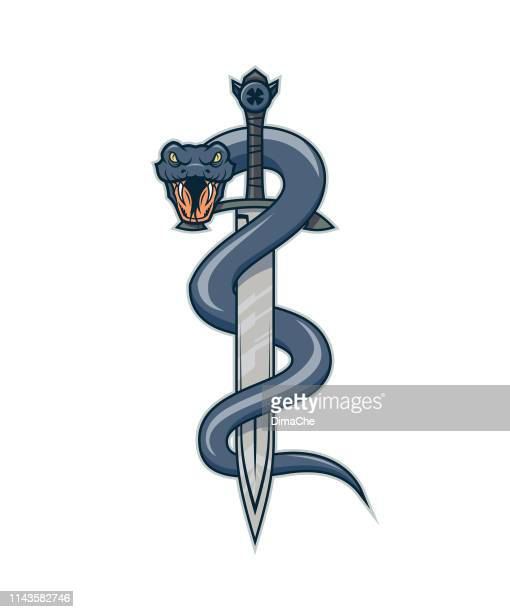 ilustraciones, imágenes clip art, dibujos animados e iconos de stock de serpiente en la espada. serpiente envuelta alrededor de una daga o espada. - cobra