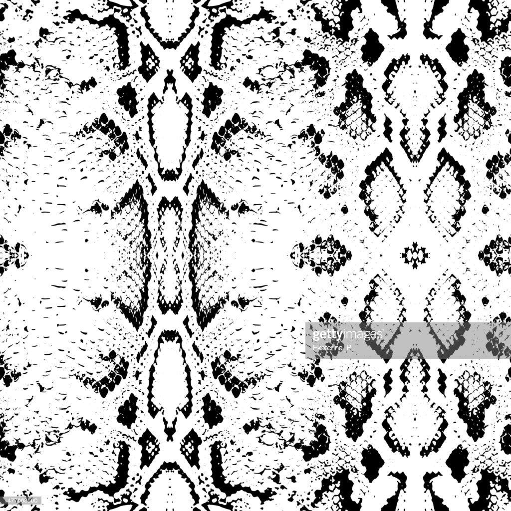 Snake skin texture. Seamless pattern black on white background. Vector