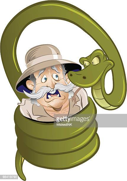 snake squeezing man - python snake stock illustrations