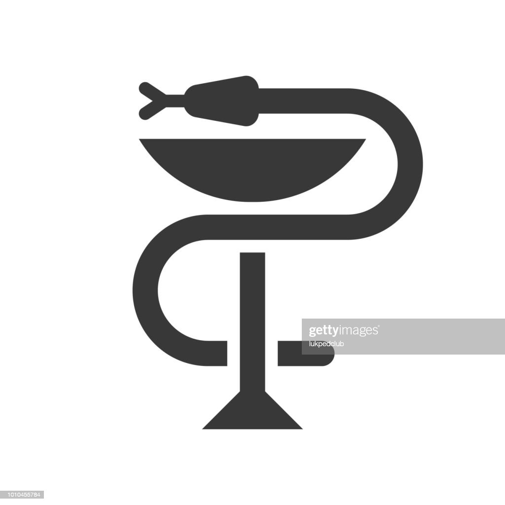 A snake twined around a chalice, Bowl of Hygieia one of the symbols of pharmacy.