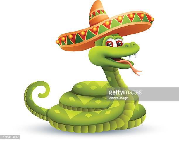 ilustrações, clipart, desenhos animados e ícones de snake com sombrero - sombreiro