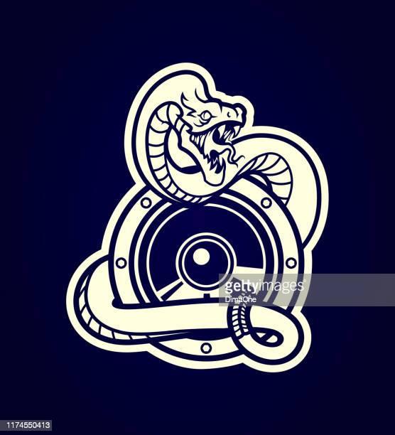 ilustraciones, imágenes clip art, dibujos animados e iconos de stock de serpiente envuelta alrededor de un altavoz - contorno cortado silueta - cobra