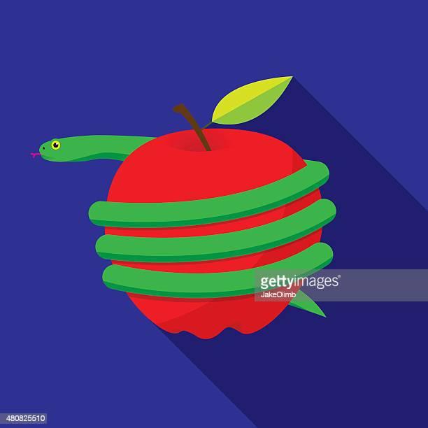 ilustraciones, imágenes clip art, dibujos animados e iconos de stock de serpiente sujetada alrededor de manzana - los siete pecados capitales