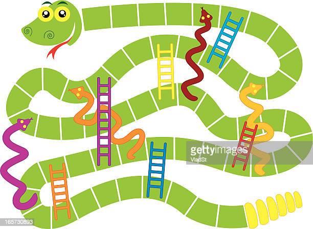 ilustraciones, imágenes clip art, dibujos animados e iconos de stock de snakes and ladders juego de mesa - juegos