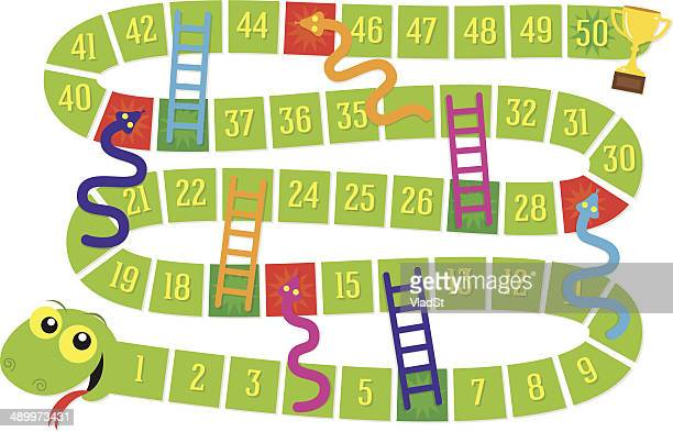 snakes and ladders board game - ladder stock illustrations, clip art, cartoons, & icons