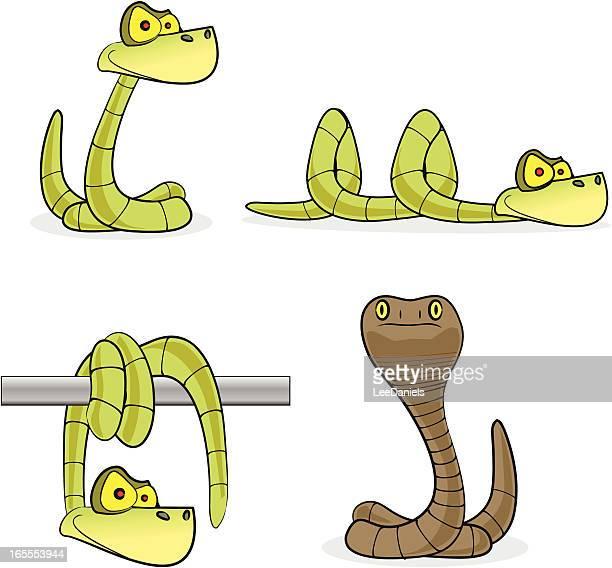 ilustraciones, imágenes clip art, dibujos animados e iconos de stock de snakes colección de dibujos animados - cobra