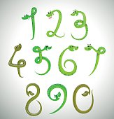 Snakes digits, green