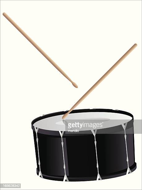 snare drum with drumsticks - snare drum stock illustrations, clip art, cartoons, & icons