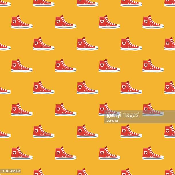 sneaker clothing & accessories pattern - sports shoe stock illustrations