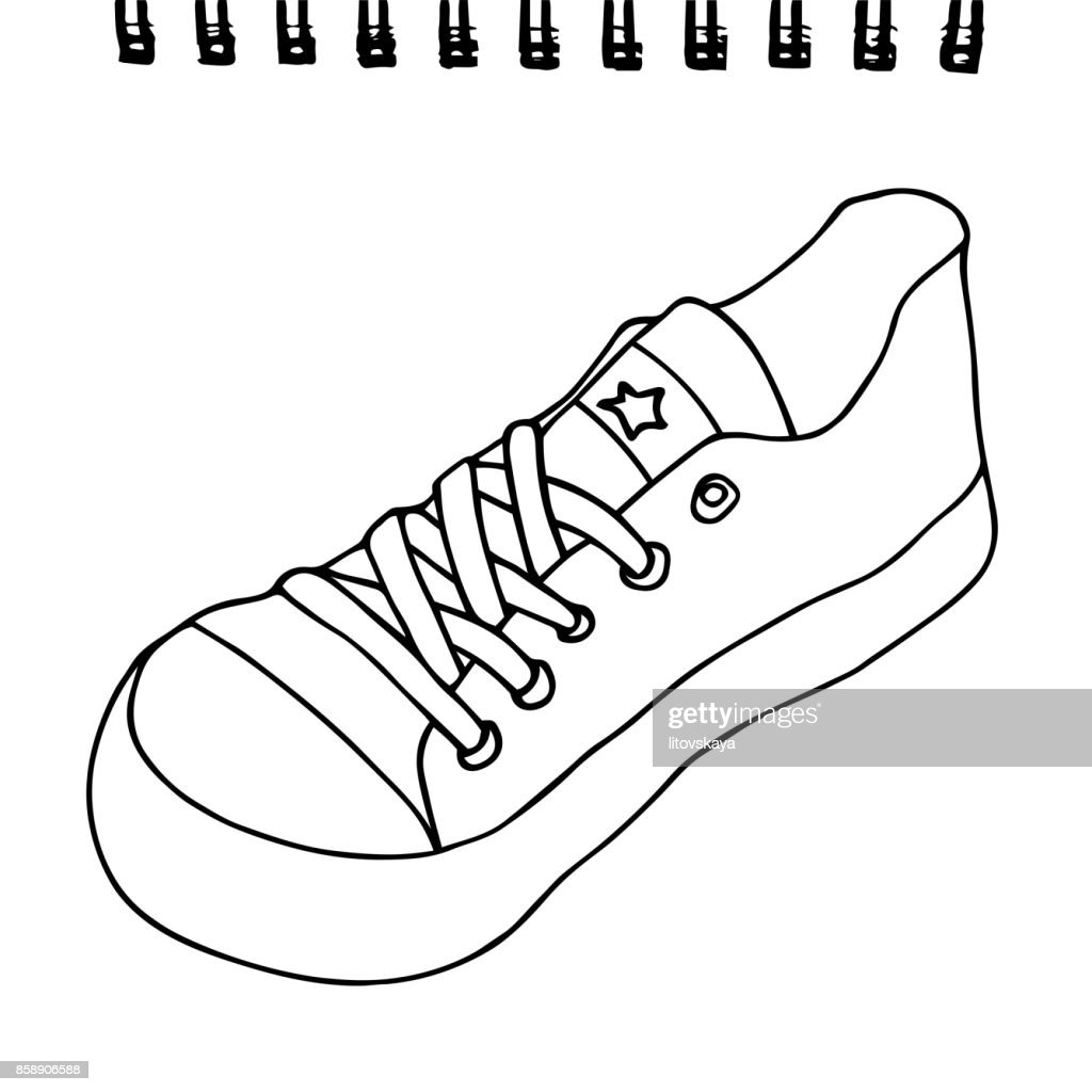 Sneaker on a sketchpad paper. Artistic vector hand drawn sketch. Isolated on white background.