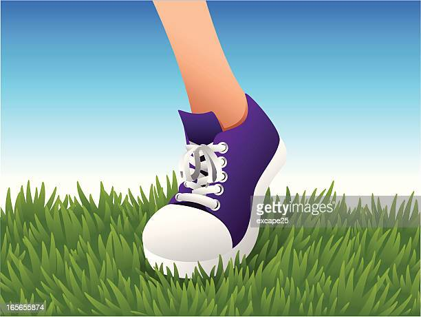 sneaker on lawn - stepping stock illustrations, clip art, cartoons, & icons