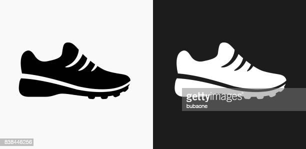 Sneakers Icon on Black and White Vector Backgrounds