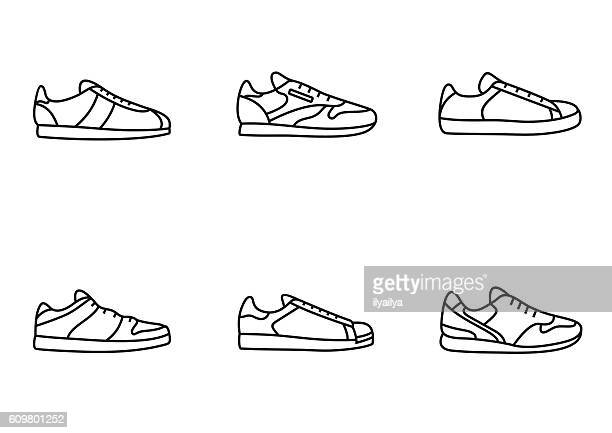 sneakers icon set - trainer stock illustrations