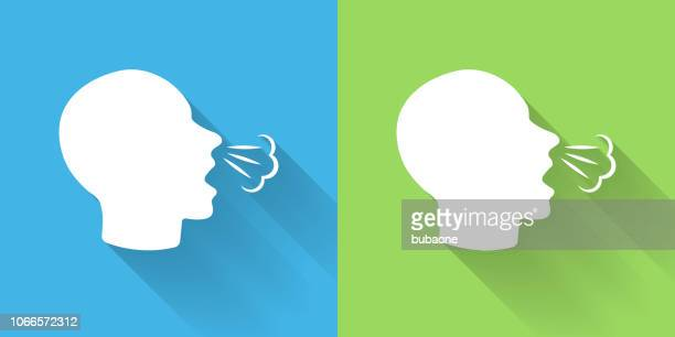 sneeze icon with long shadow - sneezing stock illustrations, clip art, cartoons, & icons