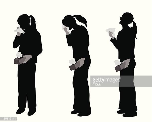 sneezing vector silhouette - cold virus stock illustrations