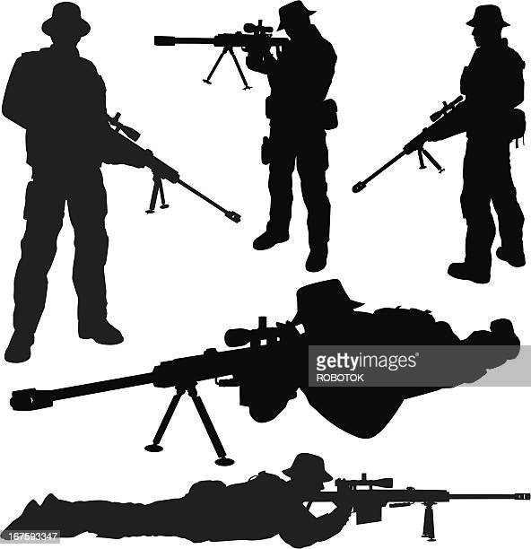 sniper silhouettes - special forces stock illustrations, clip art, cartoons, & icons