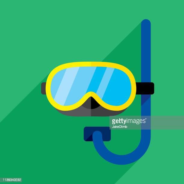 snorkel icon flat - scuba mask stock illustrations