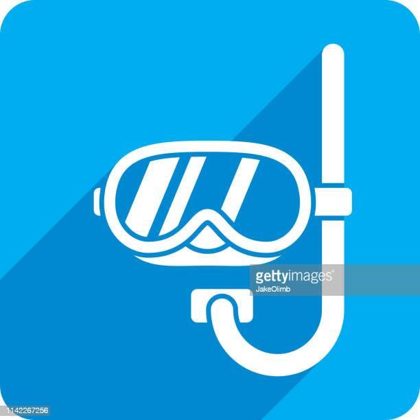 snorkel icon silhouette - scuba mask stock illustrations