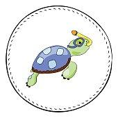 Snorkel turtle isolated on white background. Sea turtle cartoon vector illustration.