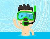 Snorkeling boy with snorkel mask