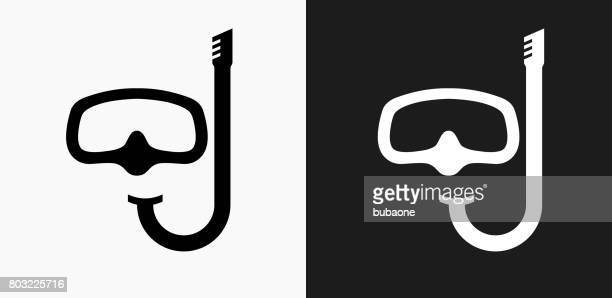 Snorkeling Icon on Black and White Vector Backgrounds
