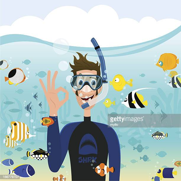 snorkeling - snorkel stock illustrations