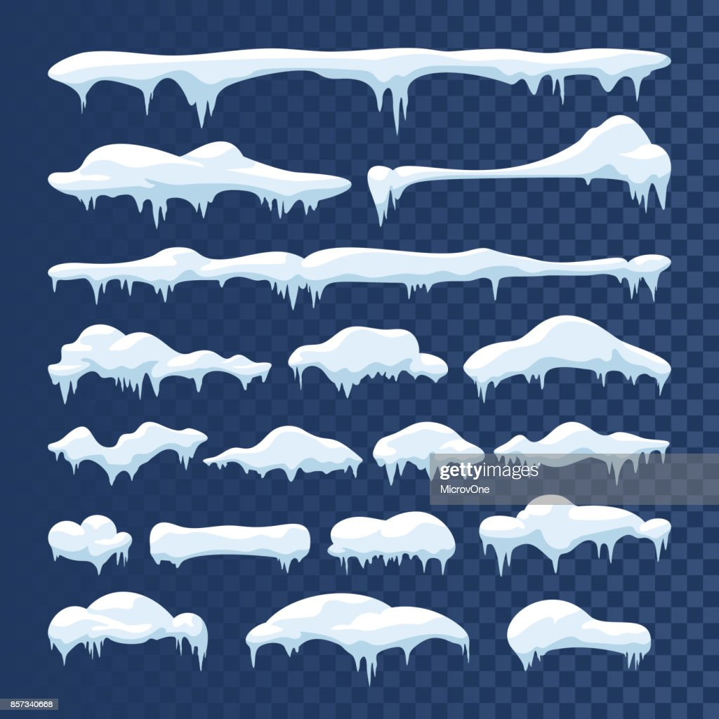 Snow and ice vector frames. Winter cartoon snow caps, snowdrifts and icicles