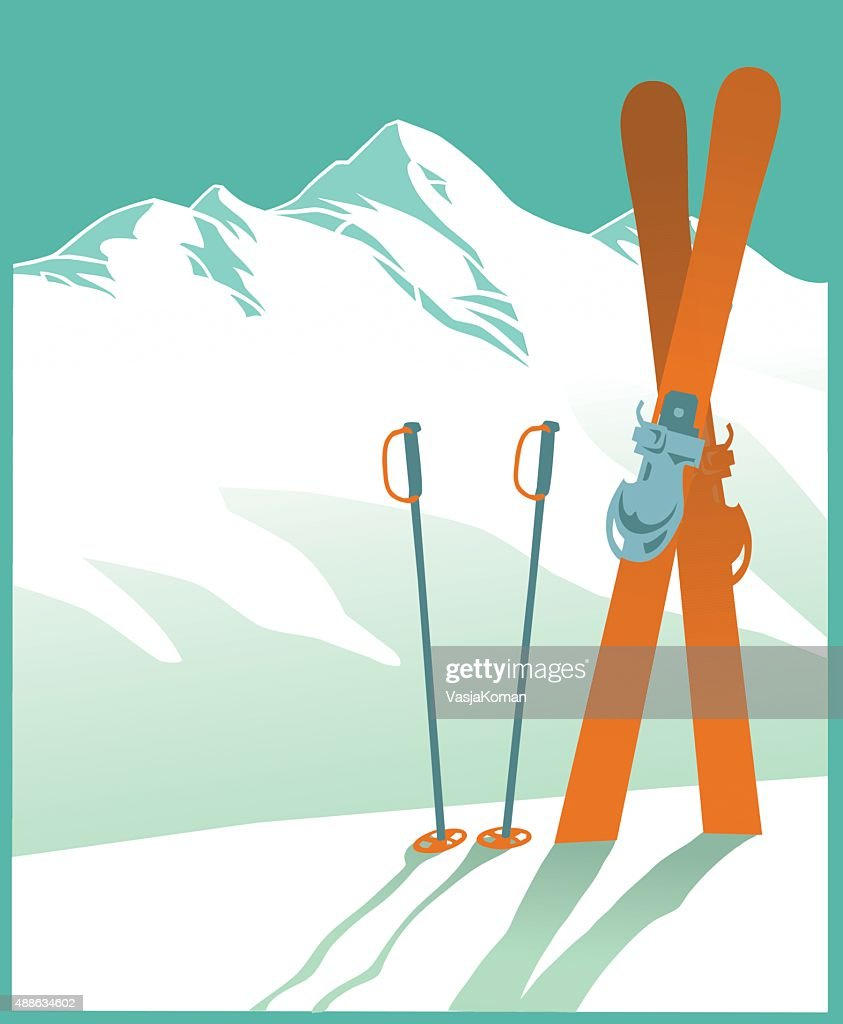 Snow Covered Mountain and Skiing - Winter Sport