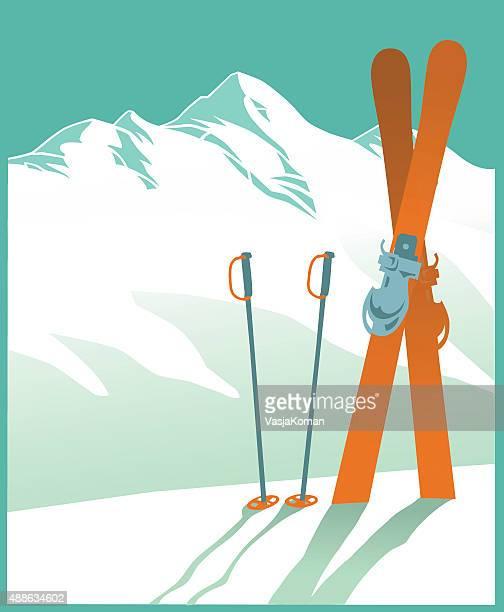 illustrations, cliparts, dessins animés et icônes de montagne recouverte de neige et des pistes de ski et de sports d'hiver - ski alpin