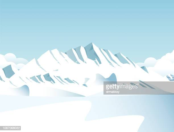 snow covered mountains - panoramic stock illustrations