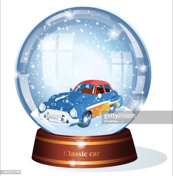 illustrations, cliparts, dessins animés et icônes de boule à neige et voiture classique - classic car christmas