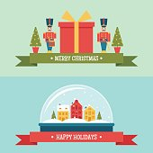 Snow globe and gift box christmas flat vector banners