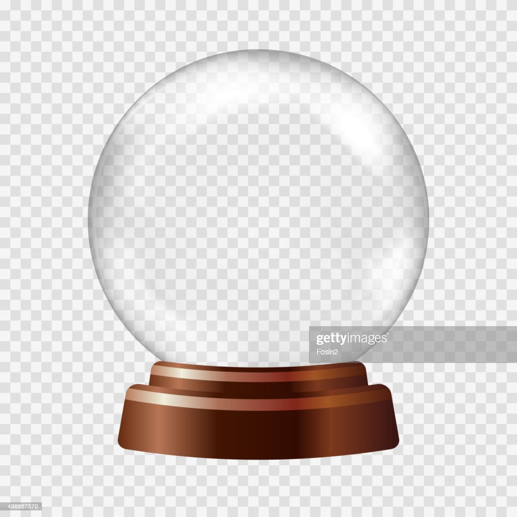 Snow globe. Big white transparent glass sphere on a stand